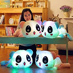 Luz LED para arriba muñeca de felpa luminosa rellena Panda Loy Glow Cojines Almohadas regalo de cumpleaños 35cm
