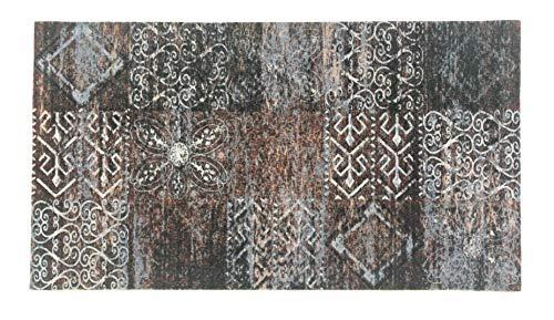 Alfombra Salón&Dormitorio Fibra de Poliester Fregable Antideslizante Mosaico (60x110cm)