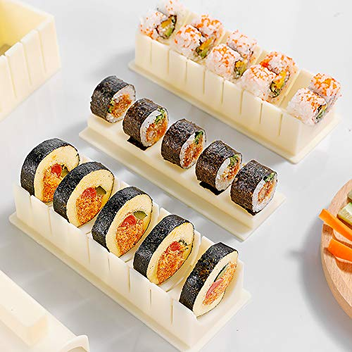 Sushi Making Kit10 Piece Plastic Sushi Maker Tool,Complete Sushi Set with 8 Shapes of Sushi Rice Roll Mold Shapes Fork Spatula DIY Home Sushi Tools