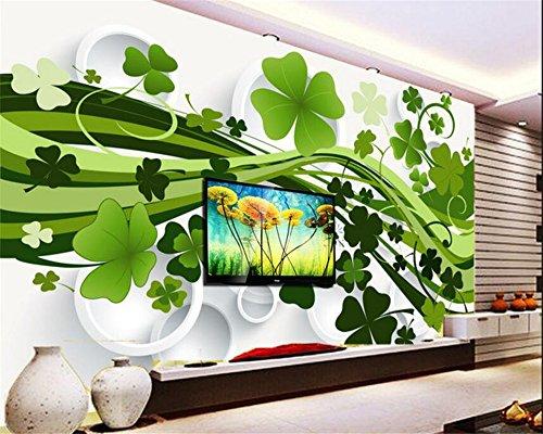 Mznm 3D-cirkel klaver decoratief schilderij kast Tv Wallpaper senior Home uitrusting decoratief schilderwerk Papel De Parede 350 x 250 cm.