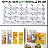 Your Day Mate Gewürzregal zum Kleben, Halterung für 16 Gewürzdosen, Montage an Küchenschränken...