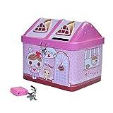 EQLEF Caja de Dinero para niños Forma Linda de casa Banco de Monedas, Caja de hojalata con Regalo de cumpleaños de Toy Lock para niñas