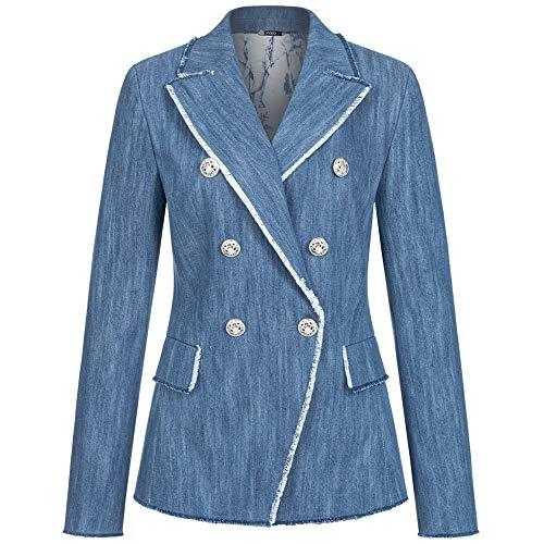 Blazer Denim im Jeans-Style mit Fransenbesatz 36 Denim