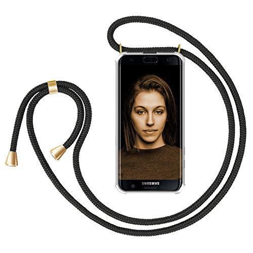 ZhinkArts Handykette kompatibel mit Samsung Galaxy S7 Edge - Smartphone Necklace Hülle mit Band - Handyhülle Case mit Kette zum umhängen in Schwarz - Gold