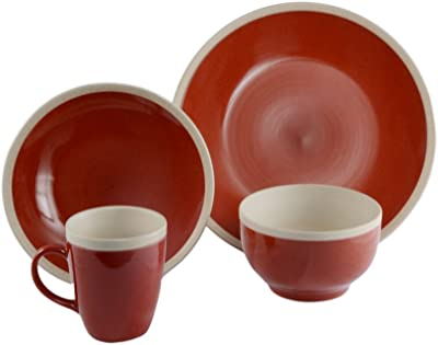 CAC China Alecto 16-Piece Red Round Stoneware Dinnerware Set, Service for 4