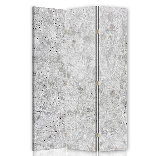 Feeby Biombo Opaco Abstracción Corcho 3 Paneles Unilateral Mármol Piedra Gris 110x175 cm