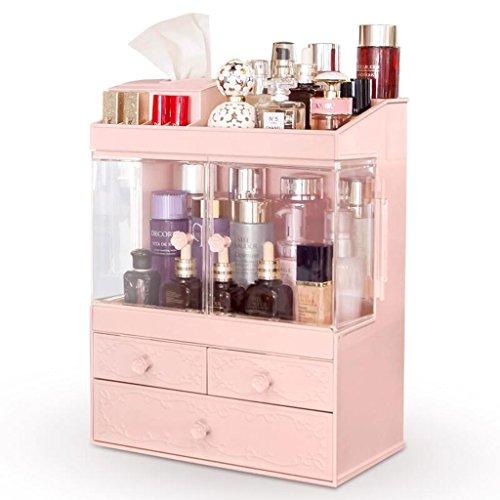 Coffrets de maquillage Tiroir Type Armoire Anti-poussière Boîte de Rangement cosmétique Commode Bureau cosmétique Skin Care Storage Box Shelf (Couleur : Pink)