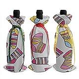 Grand sac de vin motif de chaussette colorée sans couture 3 pièces couverture de cadeau de bouteille de vin de Noël