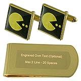 Juego Pacman amarillo oro-tono gemelos Money Clip grabado Set de regalo