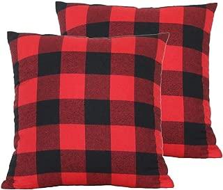 Wencal Buffalo Tartan Check Plaid Throw Pillow Case Farmhouse Cushion Cover Red Black 18 x 18 Inch Pack of 2