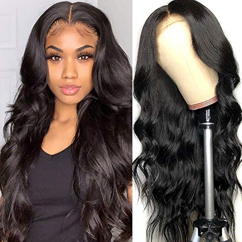 Human Hair Wigs Body Wave 12 Inch Brazilian Hair Wig 4 by 4 Lace Frontal Wig For Women Pre Plucked With Baby Hair Natural Hairline hair Natural Color
