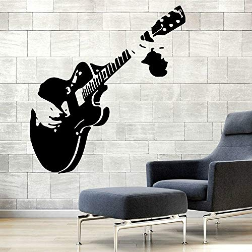 Tianpengyuanshuai Gitarre abnehmbare Vinyl Wandaufkleber Kinderzimmer Dekoration Musik Junge Raumdekoration Wandaufkleber 58X62cm