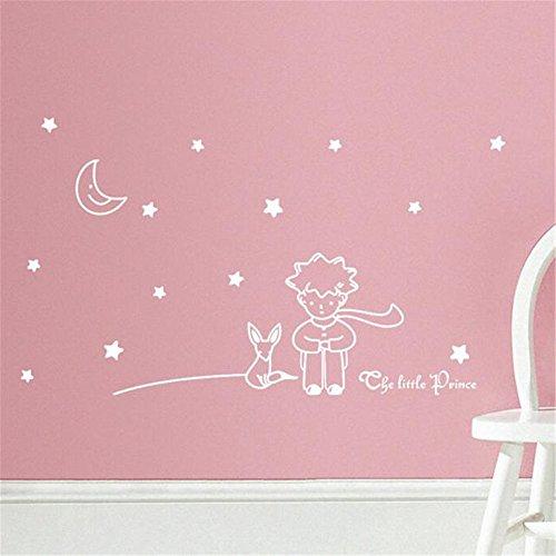 Manadlian Maison Decoration, Étoiles Lune Le Petit Prince Boy Wall Sticker Home Decor Stickers muraux 96 * 42CM (96 * 42CM, Blanc)