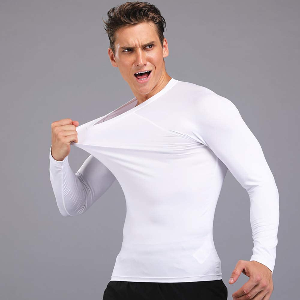 Cool Dry Compression Long Sleeve Sports Baselayer T-Shirts Tops Mens Pack of 3