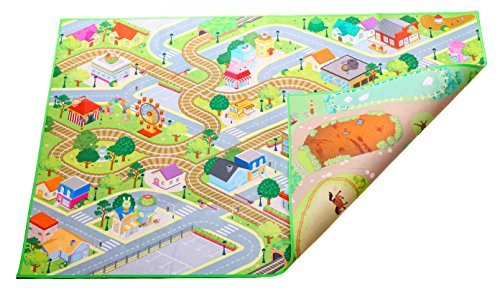 "Mat - 150 x 100 cm (59""x39.37"") Felt/ Double-Sided City & Farm motif (item # 99226?)"