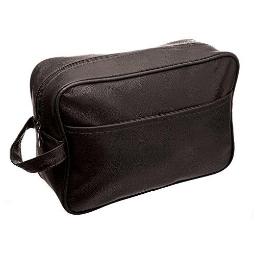 Sanjo Aspect cuir Sac fourre-tout de toilette avec poignée de transport Couleur, Marron/noir, L, 27 x 9 x 19 cm