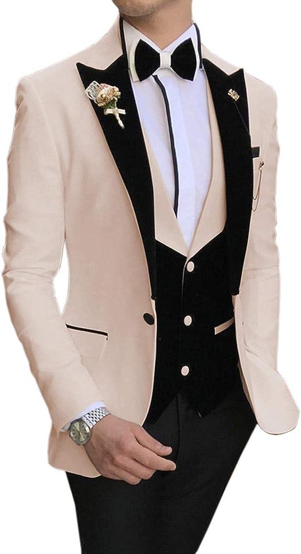 MoranX Casual Men's Suits Prom Tuxedos 3 Fit Slim Rare famous Pieces Velvet