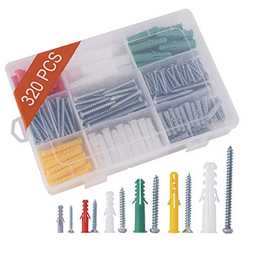 320PCS - Ribbed Plastic Drywall Anchors Kit with Screw, Self Tapping Screw and Wall Anchors Assortment Kit, Assorted Sizes Wall Plug Bolts Expansion Bolt for Wallboard Concrete