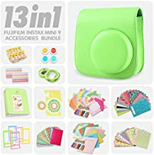 Fujifilm Instax Mini 9 Lime Green 13 Piece Accessory Bundle Includes Camera Case with Strap, Selfie Lens, Photo Album, Decorative Stickers, Colorful Frames and a Whole Lot More