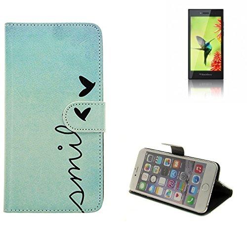 K-S-Trade Schutzhülle Für BlackBerry Leap Hülle Wallet Hülle Flip Cover Tasche Bookstyle Etui Handyhülle ''Smile'' Türkis Standfunktion Kameraschutz (1Stk)