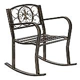Bonnlo Patio Metal Rocking chair with Wide Seat Outdoor Garden Vintage Style Bronze