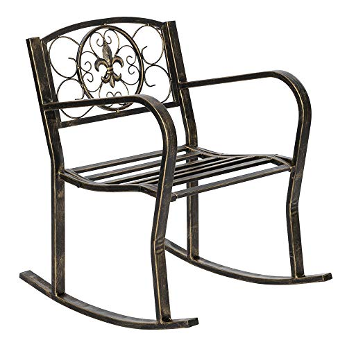 Hugee Porch Rocking Chair Antique Outdoor Patio Iron Scroll Porch Rocker Rocking Chair Deck Seat Backyard Glider, Black