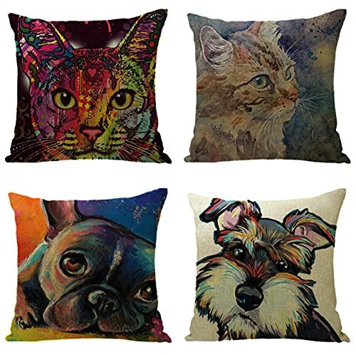 KaiXINSun Throw Pillow Cases Paquete de 4 Funda de Almohada de 18X18 Pulgadas Funda de Sofá de Casa Cuadrada Decorativa Cremallera Invisible 45X45Cm Perro Gato Garabato