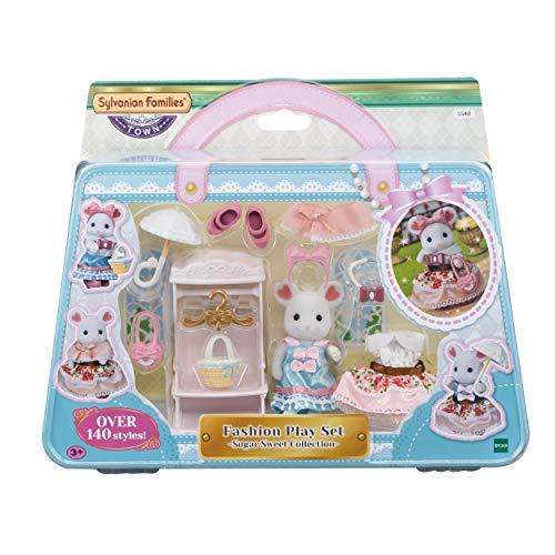 Sylvanian Families - La valisette de Mode et Grande Soeur Souris Marshmallow - 5540 - Figurines Prêt-à-Jouer - Mini Poupées