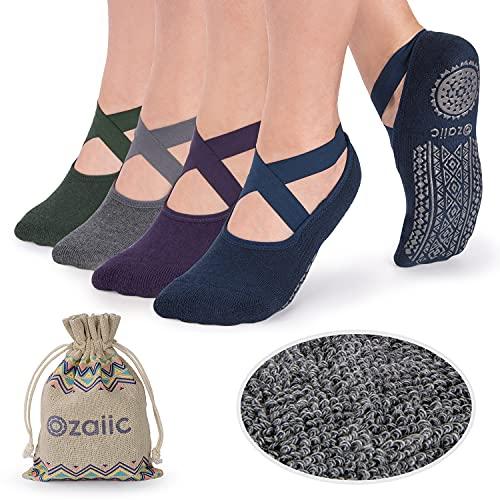 Ozaiic Non Slip Socks for Yoga Pilates Barre Fitness Hospital Socks for Women (4 Pairs - Navy/D.gray/ D.green/D.purple)