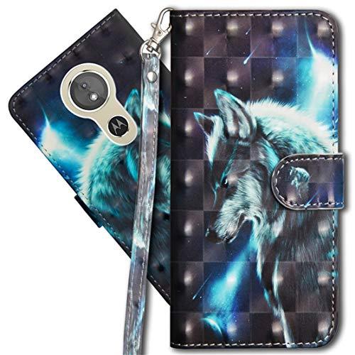 MRSTER Moto G6 Play Handytasche, Leder Schutzhülle Brieftasche Hülle Flip Hülle 3D Muster Cover mit Kartenfach Magnet Tasche Handyhüllen für Motorola Moto E5 / Moto G6 Play. YX 3D - Wolf
