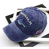 sdssup Gorra de béisbol Lavada Bordado para Hombres Retro Sombrero de Damas Azul Vaquero M (56-58cm)
