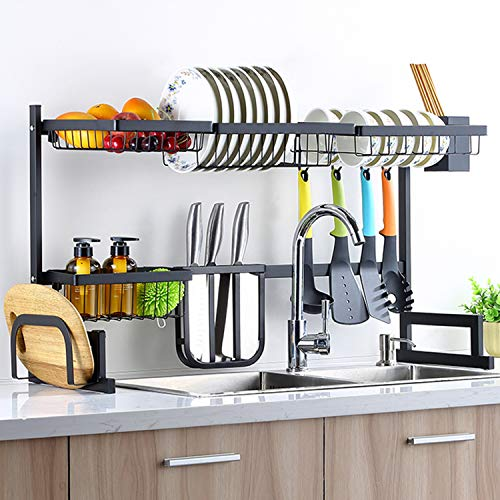 Sincalong Over Sink Dish Singalong Stainless Steel Kitchen Drainer Drying, Sturdy Storage Shelf, Tableware Rack, Length Adjustable 33' to 40', L, Black