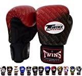 Twins Special BGVL-3 - Guantes de Muay Thai, hombre Unisex mujer Infantil, color FBGV TW1 Black/Red, tamaño 12 onzas