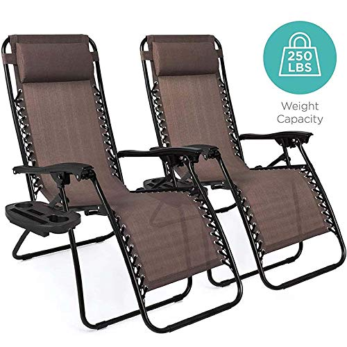 Y&MoD Heavy Duty Zero Gravity Chairs, Set of 2 Garden Chairs Outdoor Patio Sunloungers Folding Reclining Chairs Lounger Deck Chairs for Home, Garden, Patio, Decking, Holida