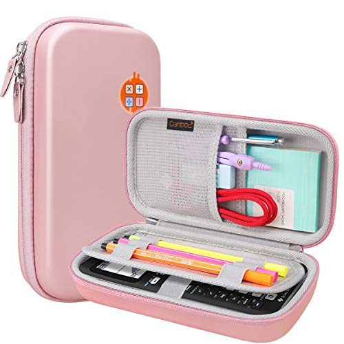 Canboc Travel Case for Texas Instruments Ti-84 Plus CE, TI-83 Plus, TI-Nspire CX II CAS, CX CAS Color Graphing Calculator, Mesh Pocket fit USB Cables, Pencil, Pens and Other Accessories, Rose Gold