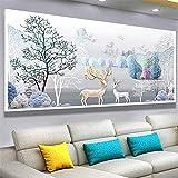 Pintura de diamante Elk para sala de estar, grande, moderna, simple, decorativa, serie animal, bordado de ladrillo, diamante completo y pasta completa, 120 x 40 cm