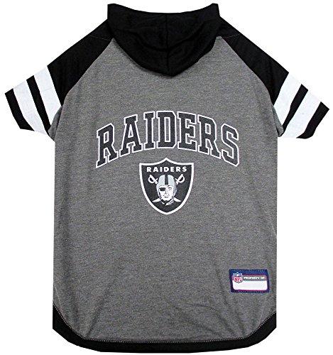 NFL Oakland Raiders Hoodie for Dogs & Cats. | NFL Football Licensed Dog Hoody Tee Shirt, Medium | Sports Hoody T-Shirt for Pets | Licensed Sporty Dog Shirt