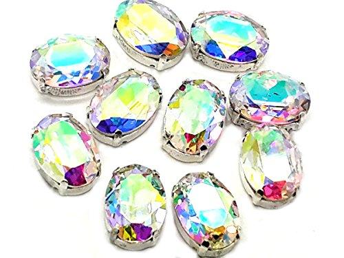 Eimass exquisite Glas-Kristalle zum Aufkleben oder Aufbügeln, Swarovski-Alternative, mit Glas-Rückseite, in silberner Einfassung, Crystal AB Oval, 13 x 18mm