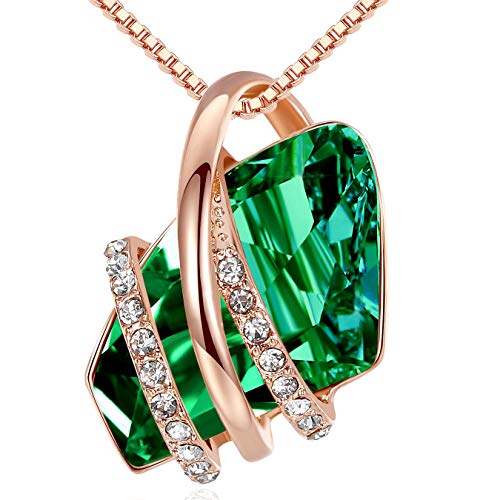 Leafael Wish Stone Pendant Necklace Made Swarovski Crystals (Emerald Green Rose Gold Plated) Gift...