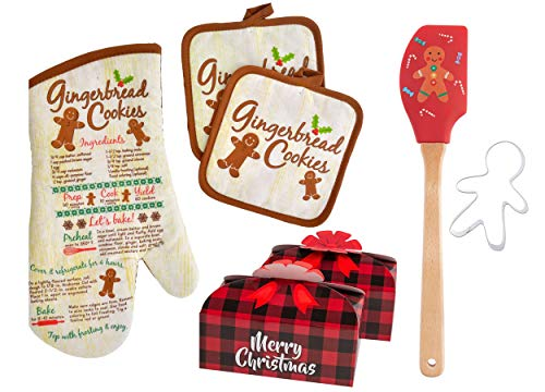 Sister Novelties Oven Mitts and Pot Holders with Spatula, Gingerbread Man Cookie Cutter and 2pk Random Cookie Box, Christmas Pot Holders, Pot Holders for Kitchen, Oven Mitts and Pot Holders Sets