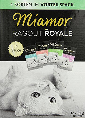 Miamor Katzenfutter Ragout Royal Multipack in Sauce 12 x 100 g, 4er Pack (4 x 1.2 kg)