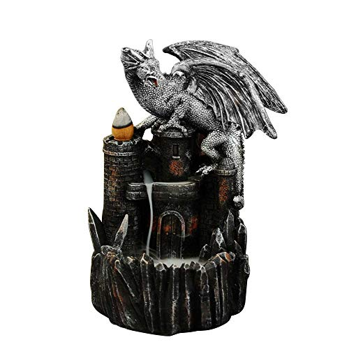 Pannow Dragon Castle Incense Burner Backflow, Gothic Dark Magic Themed Incense Holder, Aromatherapy Fountain Waterfall Censer for Yoga Room Halloween Decoration