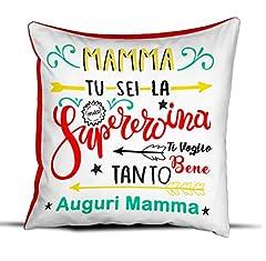 Idea Regalo - quickgadget Idea Arredo Casa Regalo Cuscino Festa della Mamma, Compleanno, Mamma tu Sei la mia spereroina, Ti Voglio Bene Tanto Auguri Mamma