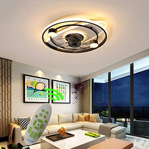 Lámpara de techo silenciosa LED regulable con iluminación y mando a distancia creativa moderna lámpara de techo para habitación de los niños, dormitorio, sala de estar, con ventilador