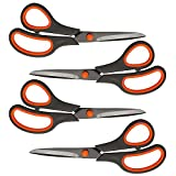 Scissors, 8 Inch Multipurpose Scissors 4-Pack, Ultra Sharp Titanium Blades, Comfort-Grip Handles, Heavy Duty Sharp Scissors for Office Home School Teacher Older Kids Classroom Class Craft Supplies