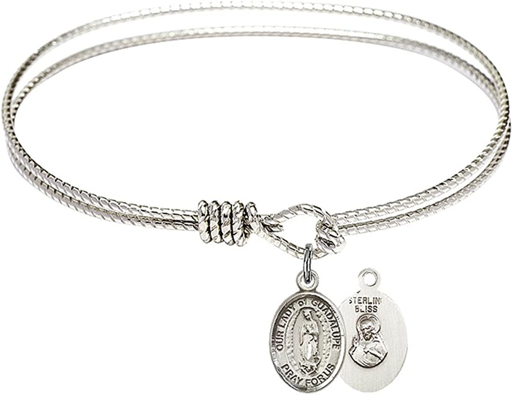 Rhodium Plate Textured Max 81% OFF Bangle Bracelet with of G Lady Petite Our Austin Mall