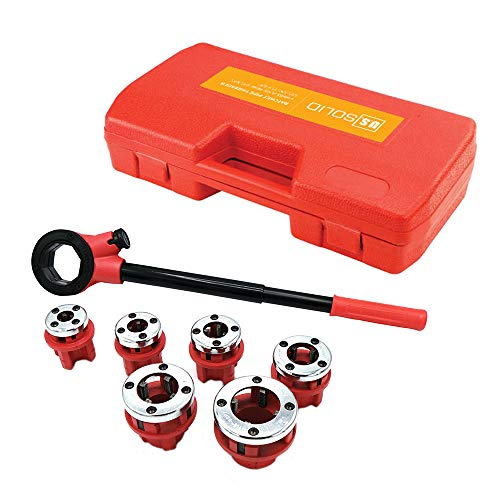 "Ratchet Pipe Threader- 6 Piece Die Pipe Threading Set, NPT ½"" to 1¼"" Cutting Tool For All Kinds Of Pipes, a U.S. Solid Product"