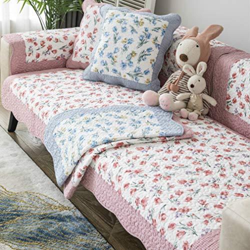 DKZ Manta acolchada de algodón para sofá, cojín de asiento antideslizante, tela gruesa pastoral para las cuatro estaciones, funda universal de algodón (70 x 70 cm, color rojo tulipán)