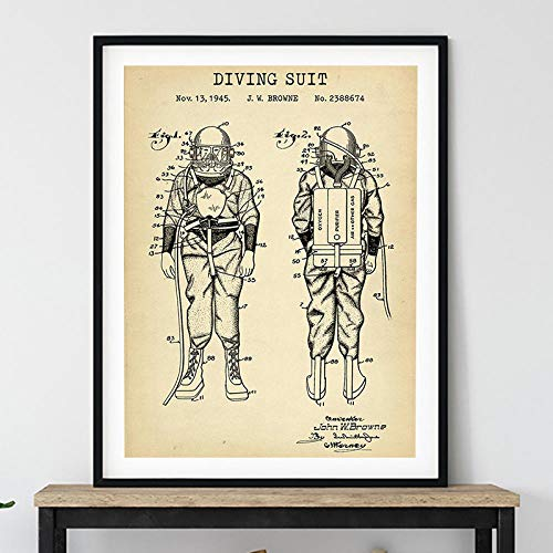 WJY Schwimmen Patentdruck Steampunk Vintage Poster Nautische Dekor Taucheranzug Blaupause Kunst Leinwand Malerei Wandbilder Taucher Geschenk 40x50cm No Frame