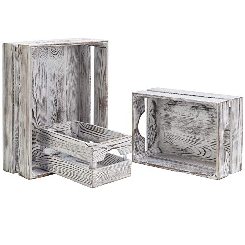 MyGift 16 x 12 Inch Nesting Rustic Whitewashed Wood Storage & Accent Crates, Set of 3